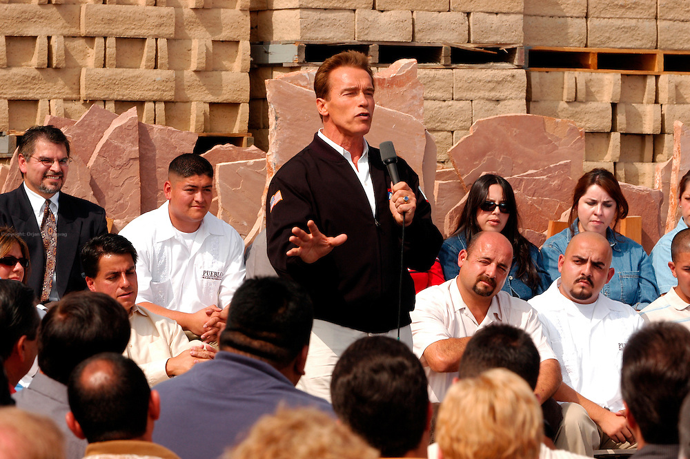 """Santa Clarita, CA, USA, Oct. 10th 2003: Arnold Schwarzenegger continued his """"California Comeback Express"""" campaign tour troughout California in his attemt to perusade the californians to vote for recall of Gray Davis and elect the actor as the new Governor of California.<br /> <br /> At the Pueblo Building Materials Factory, Mr. Schwarzenegger answered questions from citizens of Santa Clarita.<br /> <br />  *** Local Caption *** , posted on Corbis web ,"""