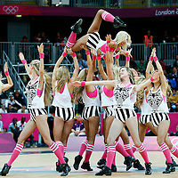 06 August 2012: The Red Foxes perform during 88-82 Team Brazil victory over Team Spain, during the men's basketball preliminary, at the Basketball Arena, in London, Great Britain.