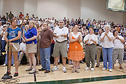 "Aug 10, 2009 -- CHANDLER, AZ: People line up at a microphone to speak out against health care reform during a meeting in Chandler, AZ. Rep. Jeff Flake, (R-AZ) hosted a ""town hall"" style meeting on health care reform at Basha High School in Chandler Monday. Flake, a conservative Republican, has opposed President Obama on many issues, like the stimulus and health care reform. Protestors who have shut down similar meetings hosted by Democrats, gave Flake a warm welome. About 1,600 people attended the meeting.   Photo by Jack Kurtz"