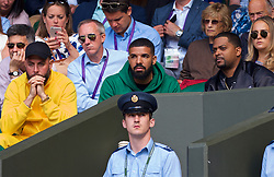 LONDON, ENGLAND - Tuesday, July 10, 2018: Canadian rapper Aubrey Drake Graham watches during the Ladies' Singles Quarter-Final match on day eight of the Wimbledon Lawn Tennis Championships at the All England Lawn Tennis and Croquet Club. (Pic by Kirsten Holst/Propaganda)