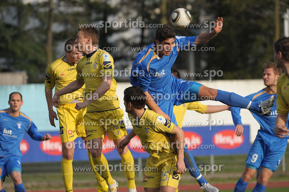 M. Mevlja and Gregor Balazic (9) of Gorica, Damir Pekic (10) and Jani Sturm of Domzale at football match of 30th Round of 1st Slovenian League between NK Hit Gorica and Domzale, on April 10, 2010, in Sportni park, Nova Gorica, Slovenia. (Photo by Foto Forma/ Sportida)