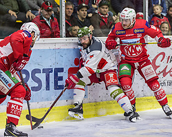 22.03.2019, Stadthalle, Klagenfurt, AUT, EBEL, EC KAC vs HCB Suedtirol Alperia, Viertelfinale, 5. Spiel, im Bild Stefano MARCHETTI (HCB Suedtirol Alperia, #23), Matt NEAL (EC KAC, #50), Andrew KOZEK (EC KAC, #10) // during the Erste Bank Icehockey 5th quarterfinal match between EC KAC and HCB Suedtirol Alperia at the Stadthalle in Klagenfurt, Austria on 2019/03/22. EXPA Pictures © 2019, PhotoCredit: EXPA/ Gert Steinthaler