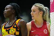 Uganda GD Lilian Ajio and England Women GA Natalie Haythornthwaite during the Netball World Cup 2019 Preparation match between England Women and Uganda at Copper Box Arena, Queen Elizabeth Olympic Park, United Kingdom on 30 November 2018.