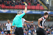 Grimsby Town midfielder James Bennett (7) is shown a yellow card, booked  during the EFL Sky Bet League 2 match between Grimsby Town FC and Port Vale at Blundell Park, Grimsby, United Kingdom on 10 March 2018. Picture by Mick Atkins.