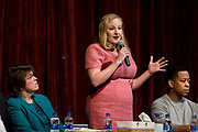 Kelda Roys speaks during the public forum for Democratic gubernatorial candidates at LaFollete High School in Monona, Wisconsin, Sunday, Jan. 28, 2018.