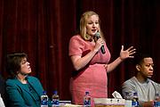 Kelda Roys speaks during the public forum for Democratic gubernatorial candidates at LaFollete High School in Monona, Wisconsin, Sunday, Jan. 28, 2018.
