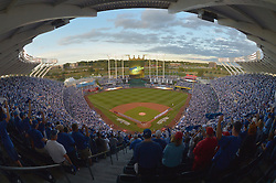 Oct 5, 2014; Kansas City, MO, USA; A general view of the stadium as lineups are announced before game three of the 2014 ALDS baseball playoff game between the Kansas City Royals and Los Angeles Angels at Kauffman Stadium. Mandatory Credit: Denny Medley-USA TODAY Sports