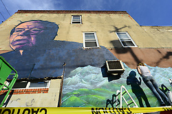 "In south Philadelphia, PA., U.S. Artists Old Broads and Disto are seen on March 9, 2016  as they work to complete a mural in support of candidate for the Democratic nomination Bernie Senders. The work titled ""Philly the Bern"" is located on the corner of 22nd St. and Catharine St, in the South Philadelphia neighborhood of Philadelphia, PA., USA."