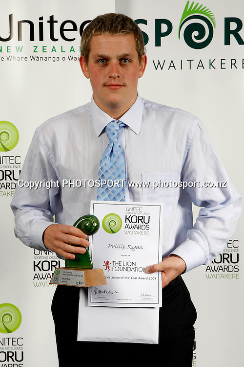 Junior Sportsman of the year, Phillip Ryan, Unitec, Waitakere Sporting Excellence, Koru Awards. Genesis Lounge, Trusts Stadium, Waitakere City, Auckland, 27 November 2009. Photo: William Booth/PHOTOSPORT