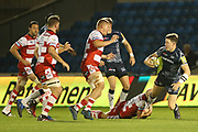 S James tackled during the Aviva Premiership match between Sale Sharks and Gloucester Rugby at the AJ Bell Stadium, Eccles, United Kingdom on 29 September 2017. Photo by George Franks.