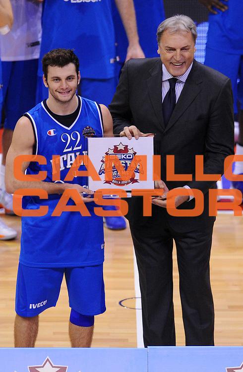 DESCRIZIONE : Biella Beko All Star Game 2012-13<br /> GIOCATORE : Stefano Gentile e Dino Meneghin<br /> CATEGORIA : Premiazione<br /> SQUADRA : Italia Nazionale Maschile<br /> EVENTO : All Star Game 2012-13<br /> GARA : Italia All Star Team<br /> DATA : 16/12/2012 <br /> SPORT : Pallacanestro<br /> AUTORE : Agenzia Ciamillo-Castoria/A.Giberti<br /> Galleria : FIP Nazionali 2012<br /> Fotonotizia : Biella Beko All Star Game 2012-13<br /> Predefinita :