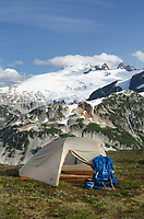 Backcountry camp on Red Face Mountain, Mount Challenger seen in the distance, North Cascades National Park Washington