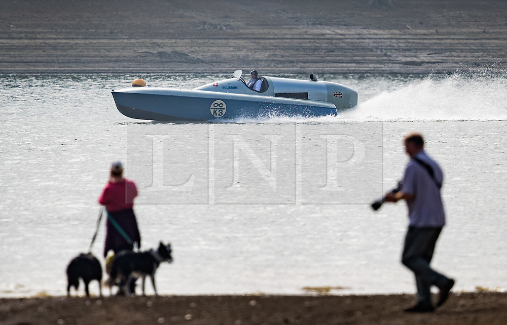 © Licensed to London News Pictures. 26/09/2017. Bewl Water, UK. Karl Foulkes Halbard pilots the fully restored Blue Bird K3 on Bewl Water for a test run. Built in 1937 for Sir Malcolm Campbell, the K3 achieved three world water speed records in 1937-8 attaining a speed of 130.91mph. Blue Bird K3 has undergone an extensive restoration and is part of the Foulkes Halbard Collection at Filching Manor Motor Museum near Eastbourne. Photo credit: Peter Macdiarmid/LNP