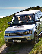 05:05:2012.Miss scotland 2012 - Landrover Experience challenge.. The girls pose with Land Rover Evoque before the challenge..Out on the course - Abbie at the wheel of the Range Rover Sport on a steep descent...Pic:Andy Barr.07974 923919  (mobile).andy_snap@mac.com.All pictures copyright Andrew Barr Photography. .Please contact before any syndication. .