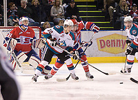 KELOWNA, CANADA, DECEMBER 27: Filip Vasko #10 of the Kelowna Rockets looks for the puck against the Spokane Chiefs at the Kelowna Rockets on December 7, 2011 at Prospera Place in Kelowna, British Columbia, Canada (Photo by Marissa Baecker/Getty Images) *** Local Caption ***