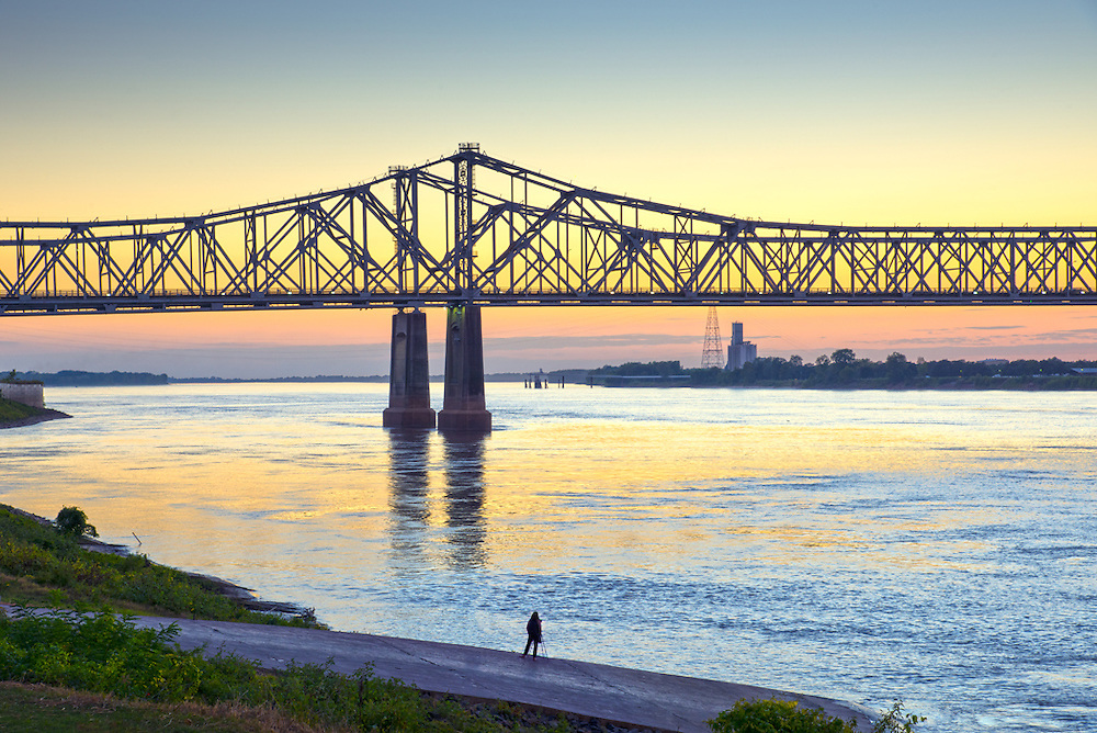 Bailey Park in the historic Under-The Hill district in Natchez provides views of the Mississippi River and the Natchez -Vidalia twin cantilever bridges.