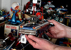 © London News Pictures. 13/03/2016. A Japanese made Space Patrol car robot toy at Vectis Auction House in Thornaby, England March 13 2016. Around 1000 pieces from a North Yorkshire couple will go under the hammer on March 15. The collection was built over 40 years and includes pieces from 1939 to the mid 90's . Photo credit: Nigel Roddis/LNP