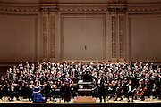 "Soprano Emalie Savoy (2L) and Baritone Sidney Outlaw (2R) of the Oratorio Society of NY perform Mendelssohn's ""Elijah"" at Carnegie Hall  on April 27, 2011 in New York. photo by Joe Kohen for The New York Times.."