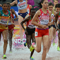 Hyvin Kiyeng Jepkemoi and Purity Cherotich Kirui in action from the 3000m steeplechase for women at the 2017 IAAF world athletics championships at the London Stadium