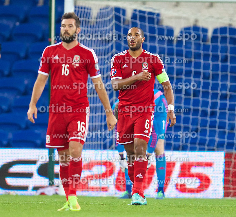 13.10.2014, City Stadium, Cardiff, WAL, UEFA Euro Qualifikation, Wales vs Zypern, Gruppe B, im Bild Wales' captain Ashley Williams looks dejected as Cyprus score a goal // 15054000 during the UEFA EURO 2016 Qualifier group B match between Wales and Cyprus at the City Stadium in Cardiff, Wales on 2014/10/13. EXPA Pictures &copy; 2014, PhotoCredit: EXPA/ Propagandaphoto/ David Rawcliffe<br /> <br /> *****ATTENTION - OUT of ENG, GBR*****