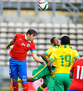 CAPE TOWN, SOUTH AFRICA - Sunday 27 September 2015: Luis Salas of Chile heads the ball during the U17 International friendly soccer match between South Africa v Chile at Athlete Stadium. (Photo by Roger Sedres/ImageSA)
