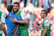 EINDHOVEN, PSV - Feyenoord, voetbal Eredivisie, seizoen 2013-2014, 13-04-2014, Philips Stadion, Feyenoord speler Graziano Pelle (M), Feyenoord speler Joris Mathijsen (L) en Feyenoord speler Jordie Clasie (R) zijn blij met de overwinning.