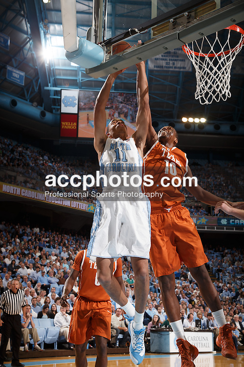 CHAPEL HILL, NC - DECEMBER 18: Brice Johnson #11 of the North Carolina Tar Heels plays the Texas Longhorns on December 18, 2013 at the Dean E. Smith Center in Chapel Hill, North Carolina. Texas won 86-83. (Photo by Peyton Williams/UNC/Getty Images) *** Local Caption *** Brice Johnson