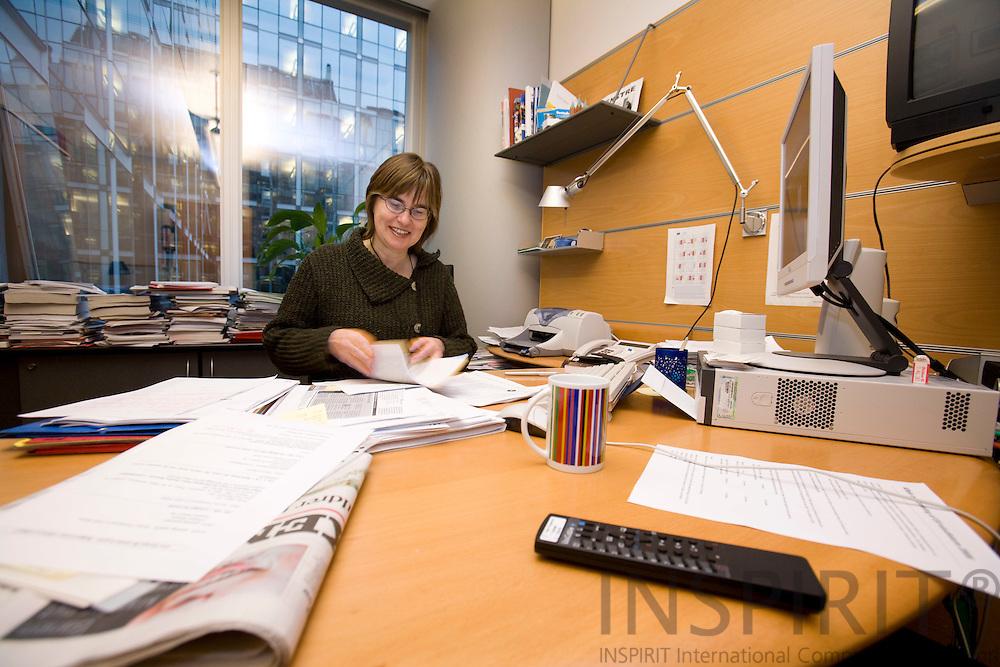 BRUSSELS - BELGIUM - 29 NOVEMBER 2007 -- MEP Anne E. Jensen in her office.  Photo: Erik Luntang