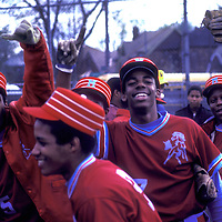 Members of the Mumford High School baseball team celebrate after a 1981 victory in Detroit, MI.