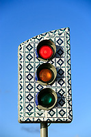 traffic light of the historic center of the city of sao luis of maranhao in brazil