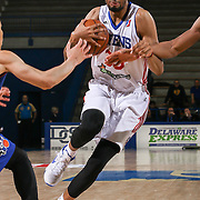 Philadelphia 76ers assignee, Center CHRISTIAN WOOD (33) dribbles down the floor in the second half of a NBA D-league regular season basketball game between the Delaware 87ers and the Westchester Knicks Tuesday, JAN, 19, 2016 at The Bob Carpenter Sports Convocation Center in Newark, DEL