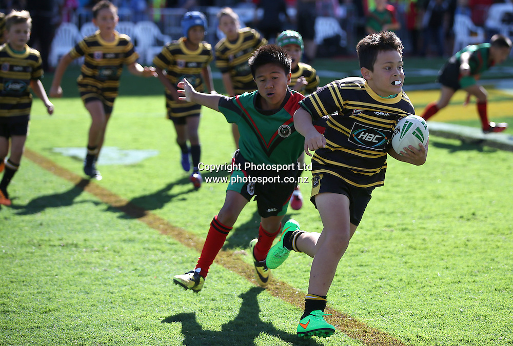 The Mini mods playing during the NRL Rugby League match between the NZ Warriors and the Parramatta Eels played at Mt Smart Stadium in South Auckland on the 21st March 2015. <br /> <br /> Copyright Photo; Peter Meecham/ www.photosport.co.nz
