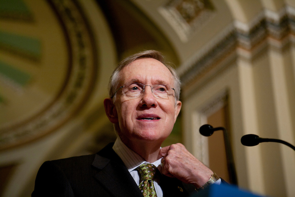 Senate Majority Leader Harry Reid (D-NV) speaks at a news conference on Capitol Hill on November 3, 2009 in Washington, DC. Reid discussed efforts to pass health care reform legislation.