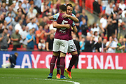 Aston Villa defender John Terry (26) hugs Aston Villa defender James Chester (5) during the EFL Sky Bet Championship play-off final match between Fulham and Aston Villa at Wembley Stadium, London, England on 26 May 2018. Picture by Dennis Goodwin.