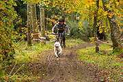 Female competitor in bikejor class during the WSA Dryland World Championship 2019 at Firle Country Estate in the South Downs National Park, Lewes, Sussex, United Kingdom on 17 November 2019.