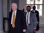 Republican Rep. Henry Hyde walks to the Majority Caucus meeting November 18, 1998 in Washington, DC. The caucus is electing a new speaker and leadership positions following midterm elections.