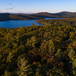 Drone view of Mount Eleanor (foreground) and Merrymeeting Lake in New Durham, New Hampshire.