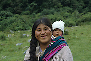 Portrait of Bolivian mother with baby