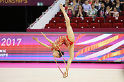 Neviana Vladinova, Bulgaria, during the 33rd European Rhythmic Gymnastics Championships at Papp Laszlo Budapest Sports Arena, Budapest, Hungary on 21 May 2017. Photo by Myriam Cawston.