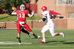 15 October 2011: Matt Brown approached by Jim Thompson during an NCAA football game between the University of South Dakota Coyotes and the Illinois State Redbirds (ISU) at Hancock Stadium in Normal Illinois.