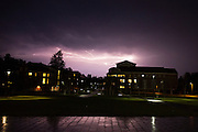 A lightning storm passes over Bates College on September 11, 2013.