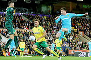 Burton Albion's Joe Mason has his effort saved during the EFL Sky Bet Championship match between Norwich City and Burton Albion at Carrow Road, Norwich, England on 12 September 2017. Photo by John Potts.