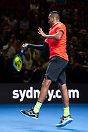 SYDNEY, NSW - JANUARY 07: Nick Kyrgios (AUS) hits a forehand at The Sydney FAST4 Tennis Showdown on January 07, 2018, at Qudos Bank Arena in Homebush, Australia. (Photo by Speed Media/Icon Sportswire)