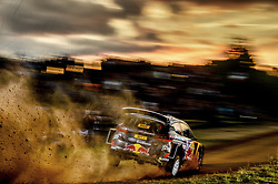October 5, 2017 - Salou, Spain - Frenchman SEBASTIEN OGIER in his Ford Fiesta on his way to clocking in with the best time of 2m 5.2s through the 2.97km mixed surface speed test on the edge of Salou, Spain.  (Credit Image: © Panoramic via ZUMA Press)