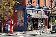 Typical street corner with Brooklyn Ale House on Berry Avenue in the Williamsburg neighborhood in Brooklyn, New York.