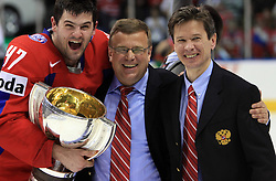 Alexander Radulov, Assistant coach Igor Zakharkin and head coach Vyacheslav Bykov celebrating at  ice-hockey game Canada vs Russia at finals of IIHF WC 2008 in Quebec City,  on May 18, 2008, in Colisee Pepsi, Quebec City, Quebec, Canada. Win of Russia 5:4. (Photo by Vid Ponikvar / Sportal Images)