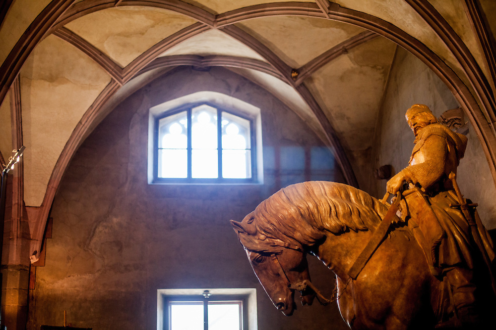 "Permanent exhibition about Hussite leader Jan Zizka (pictured on the horse) at the Gothic hall of the Hussite Museum in Tabor. Jan Žižka z Trocnova a Kalicha was a Czech general and Hussite leader, follower of Jan Hus who was born in the small village of Trocnov (now part of Borovany) in Bohemia, into a gentried family. He was nicknamed ""One-eyed Zizka."