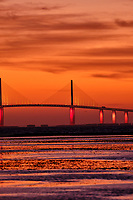Sunshine Skyway Bridge at Dawn from Fort De Soto Park. 10 of 13 images taken with a Fuji X-H1 camera and 200 mm f/2 OIS lens (ISO 400, 200 mm, f/4, 1/8 sec). Raw images processed with Capture One Pro and AutoPano Giga Pro.