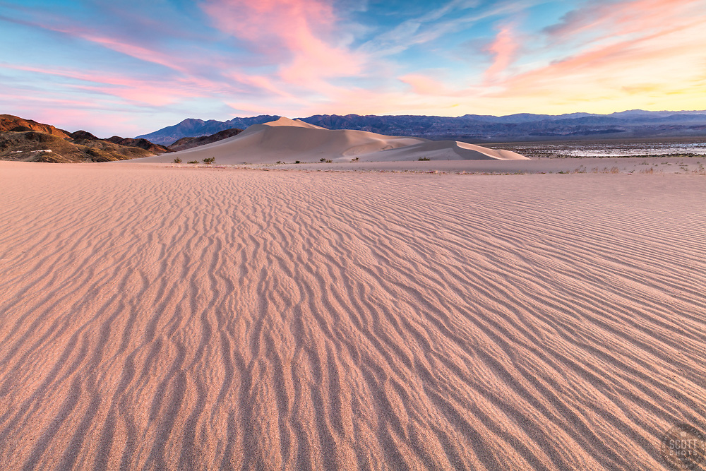 """Sunset at Ibex Dunes 1"" - Colorful sunset photograph of ripples in the sand at the Ibex Sand Dunes in Death Valley, California."