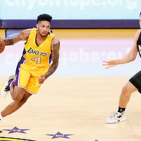 15 November 2016: Los Angeles Lakers forward Brandon Ingram (14) drives past Brooklyn Nets guard Bojan Bogdanovic (44) during the LA Lakers 125-118 victory over the Brooklyn Nets, at the Staples Center, Los Angeles, California, USA.